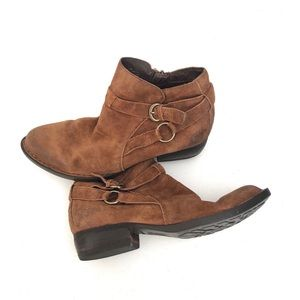 Jorgette Brown Leather Buckle Strap  Ankle Booties